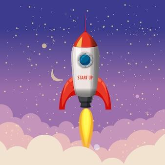 Ilustração noturna de lançamento de foguete