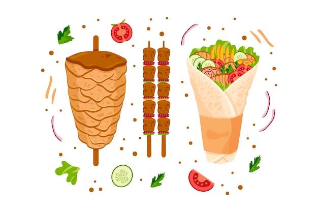 Ilustração nutritiva de shawarma desenhada à mão