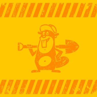 Ilustração, o castor da zona de construção de fundo segura uma pá, formato eps 10