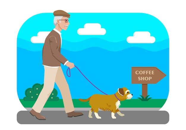 Ilustração oldman andando com seu cachorro