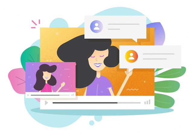 Ilustração on-line de videoconferência