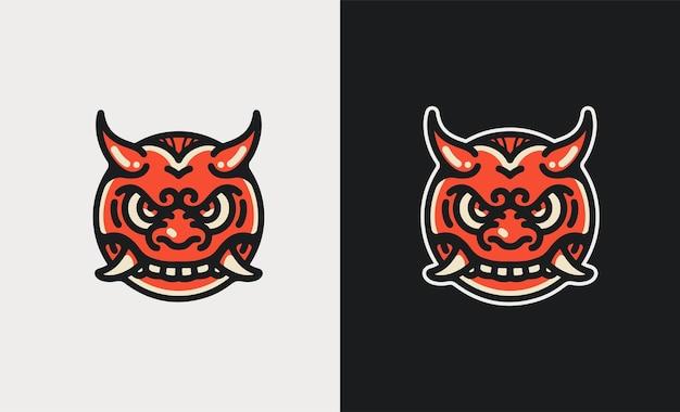 Ilustração oni face mascot esport convertida