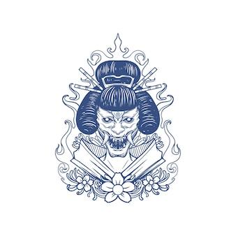 Ilustração oni geisha satan horror
