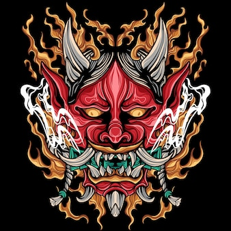 Ilustração oni mask japão