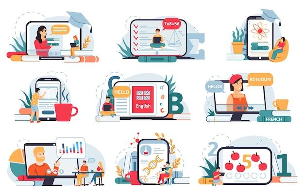 Ilustração online de educação em casa