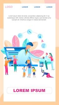 Ilustração online doctor survey group people