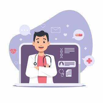 Ilustração online médico