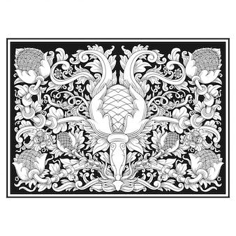 Ilustração openwork cinzelada da flor do teste padrão. motivo indonésio.