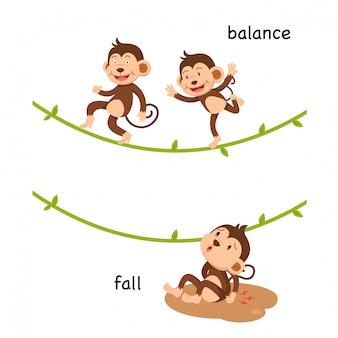 Ilustração oposta de queda e equilíbrio