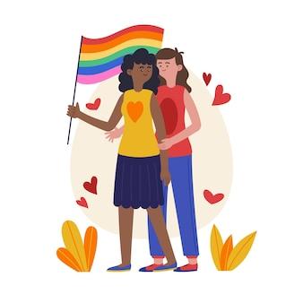 Ilustração orgânica de casal de lésbicas com bandeira lgbt