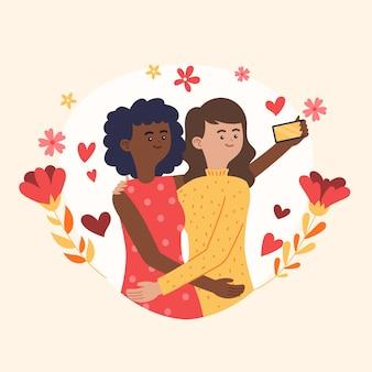 Ilustração orgânica de casal de lésbicas
