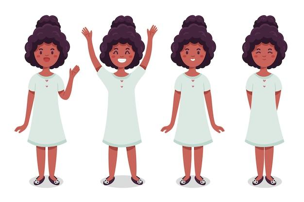 Ilustração orgânica de garota negra plana em diferentes poses