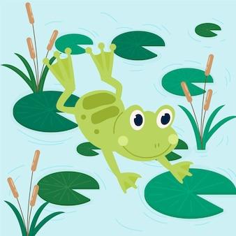 Ilustração orgânica plana adorável sapo