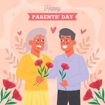 Ilustração orgânica plana coreana do dia dos pais
