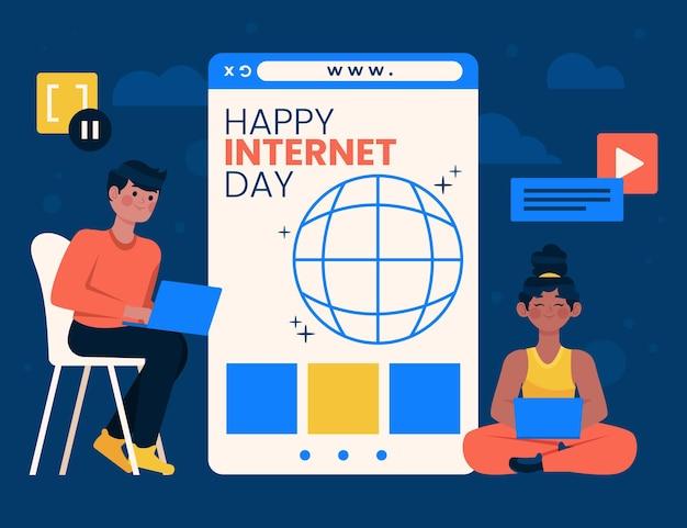Ilustração orgânica plana do dia da internet