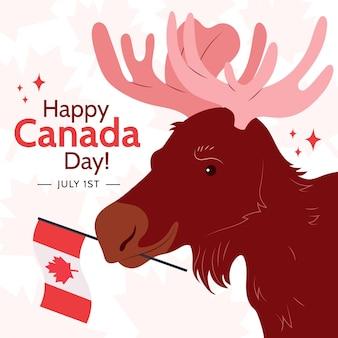 Ilustração orgânica plana do dia do canadá