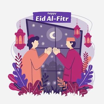 Ilustração orgânica plana eid al-fitr