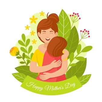 Ilustração orgânica plana feliz dia das mães