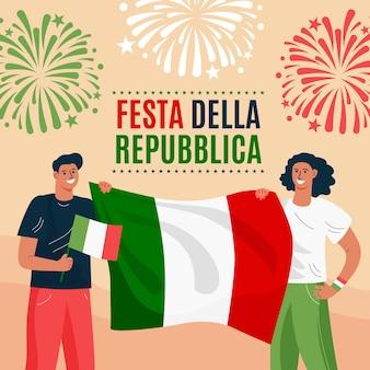 Ilustração orgânica plana festa della repubblica