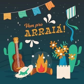 Ilustração orgânica plana festa junina