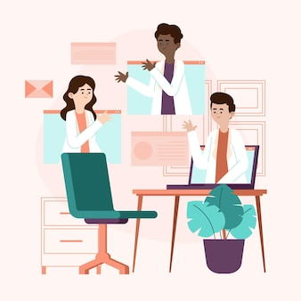 Ilustração orgânica plana online de conferência médica