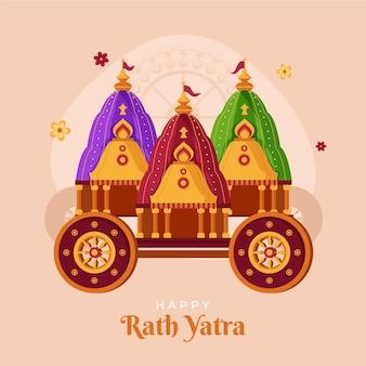 Ilustração orgânica plana rath yatra