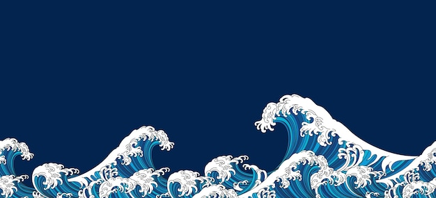 Ilustração oriental de hokusai de onda de japão isolada sobre fundo azul.
