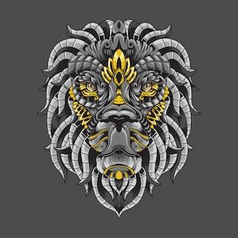 Ilustração ornamental de leão