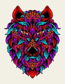 Ilustração ornamento cabeça de lobo em cores