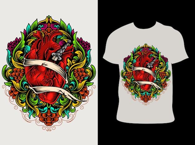 Ilustração ornamento de coração colorido com design de camiseta