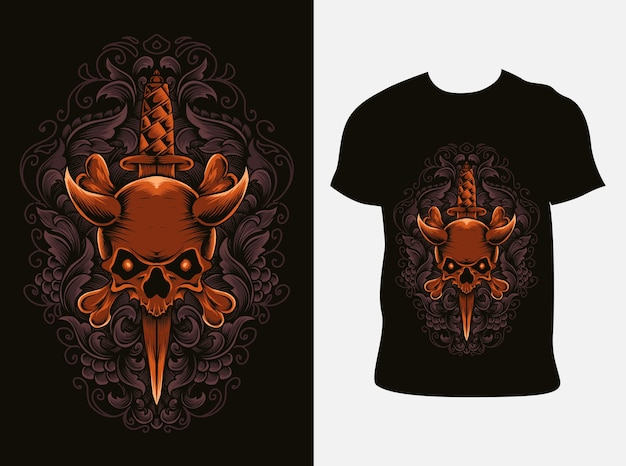Ilustração ornamento de faca de caveira com design de camiseta