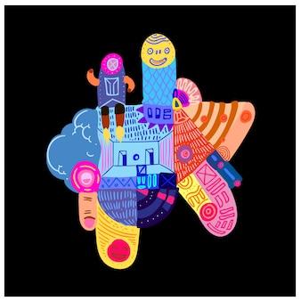 Ilustração ornamento étnico colorido abstrato.