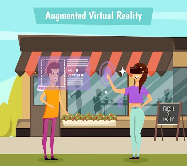 Ilustração ortogonal de realidade virtual