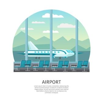 Ilustração ortogonal do interior do aeroporto