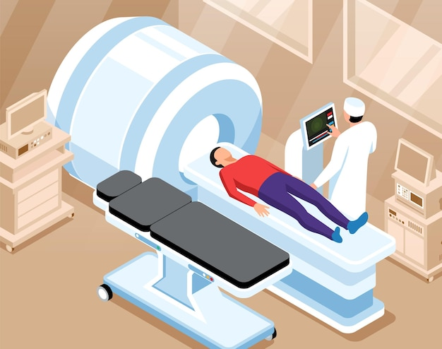 Ilustração ortopédica horizontal com médico se preparando para ressonância magnética