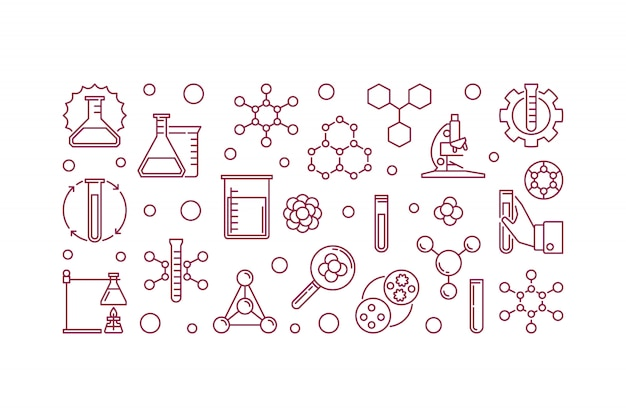 Ilustração ou ícone de contorno mínimo de química