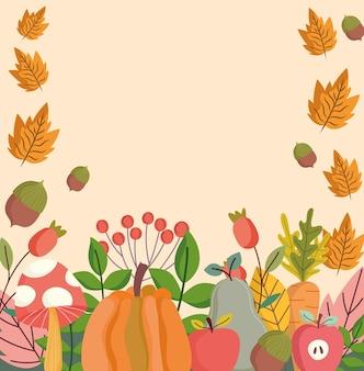 Ilustração outonal de abóbora, maçã, cogumelo, folhas, folhagem, natureza