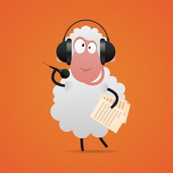 Ilustração, ovelha alegre em fones de ouvido cantando no microfone, formato eps 10