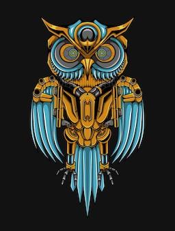 Ilustração owl steampunk