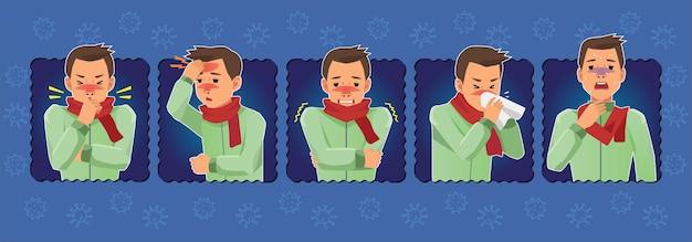 Ilustração pacote doente humano com padrão de vírus