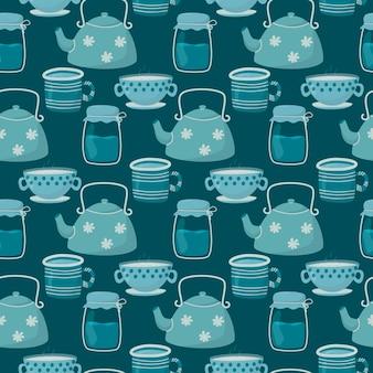 Ilustração padrão sem emenda. doodle bonito xícaras de chá e café, bule e jarra de vidro.