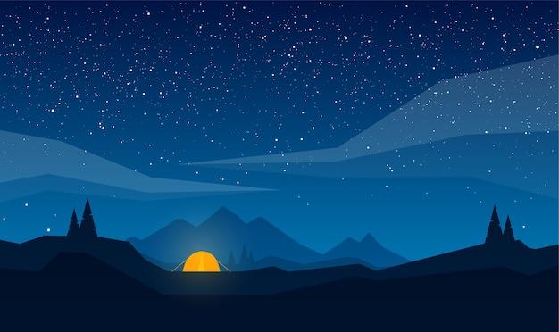 Ilustração paisagem de montanhas à noite com acampamento e céu estrelado