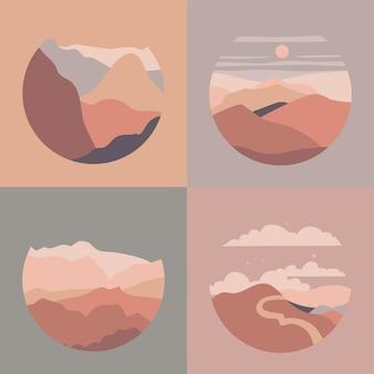 Ilustração paisagem montanha vista para o rio