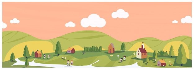 Ilustração panorâmica do verão mínimo de primavera em tons de verde e terra