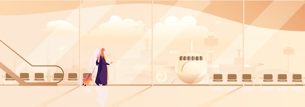 Ilustração panorâmico do vetor do curso muçulmano da mulher senhora muçulmana moderna no traje tradicional com curso do hijab apenas pelo avião.