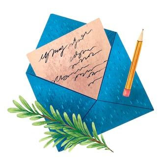 Ilustração para a carta de ano novo ao papai noel envelope azul galho de pinheiro e lápis amarelo