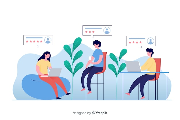 Ilustração para a página de destino com o conceito de comentários