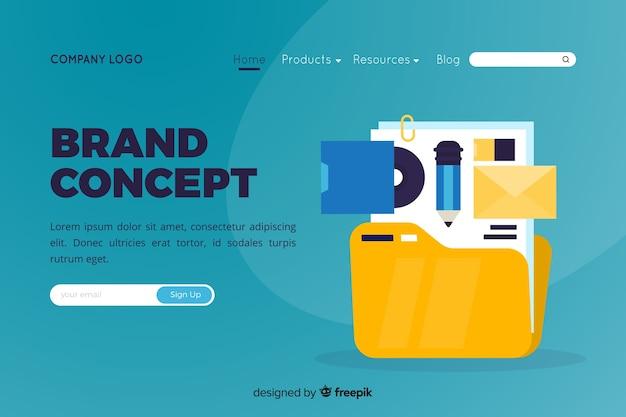 Ilustração para a página de destino com o conceito de marca