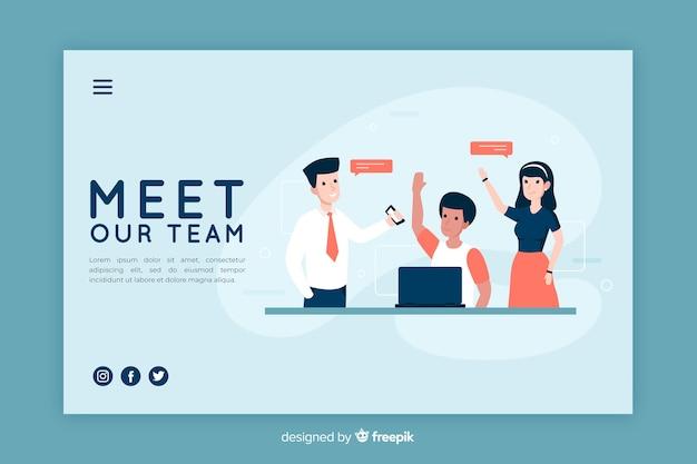 Ilustração para a página de destino com o nosso conceito de equipe