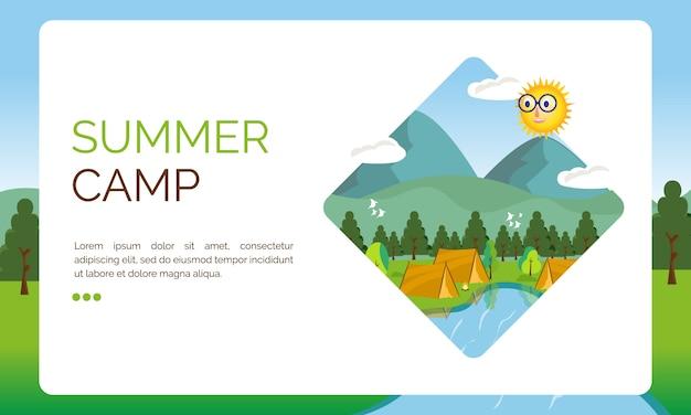 Ilustração para a página de destino, festival de acampamento de verão